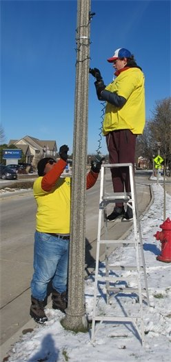 Putting up Thiensville lights